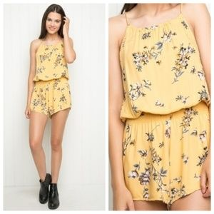 Brandy Melville Yellow Floral Romper